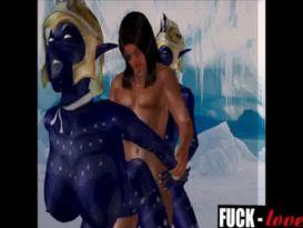 בחור קשוח מזיין אווטריות חרמניות במערת קרח!